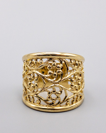 9 KT YELLOW GOLD OPEN CAST RING
