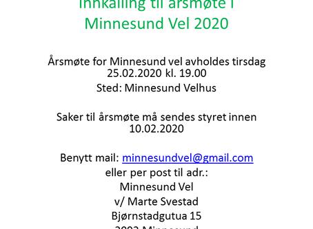 Innkalling til årsmøte Minnesund vel 25.02.2020