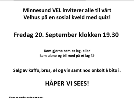 Quiz på velhuset fredag 20.september 2019