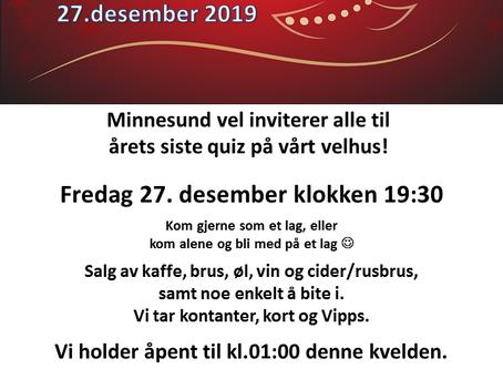 Julequiz på velhuset fredag 27.desember 2019