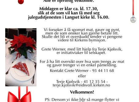 Det arrangeres Åpen julefeiring på minnesund velhus