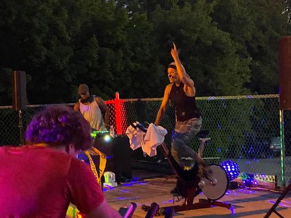 spin karen pointing up dj party.jpg