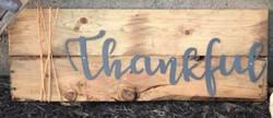 thankful on wood