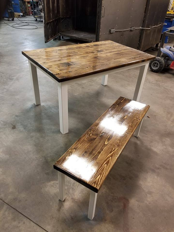 Farm house table and bench