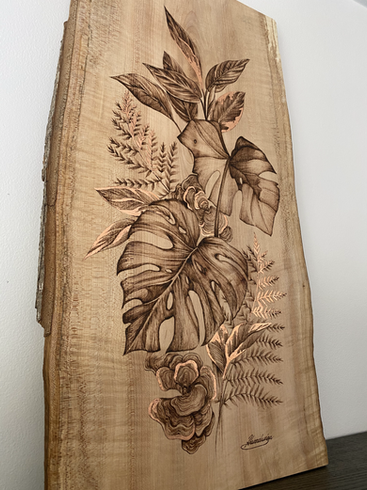 House Plant Artwork with Copper Leaf