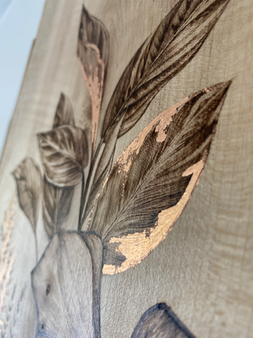 House Plant Artwork with Copper Leaf - Detail