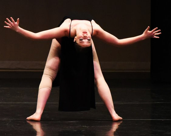 Dancer bending backwards