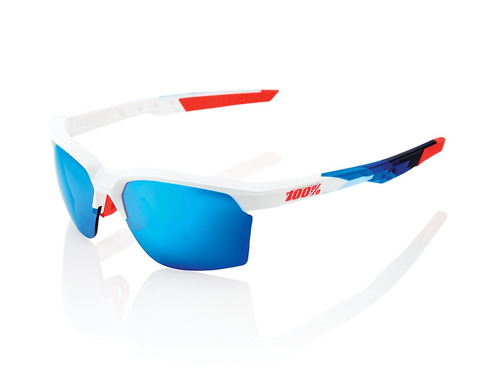 100% SOLAIRES - Lunettes solaires SPORTCOUPE Matte White/Geo Pattern Hiper Blue