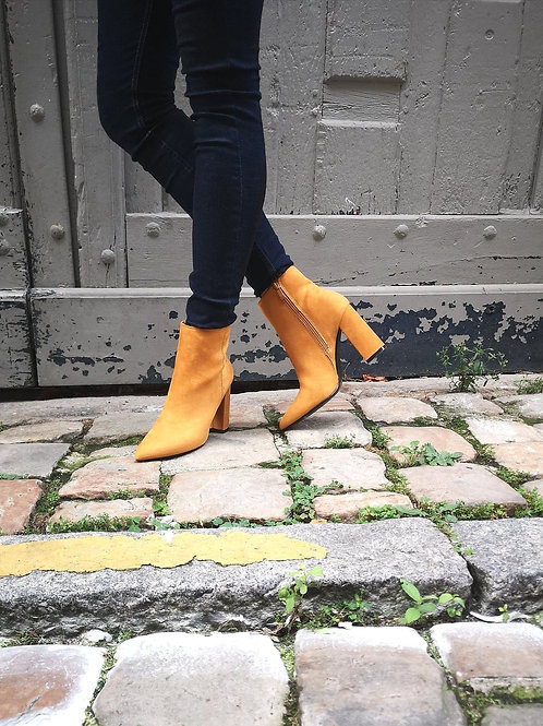 Bottines Talons jaune moutarde