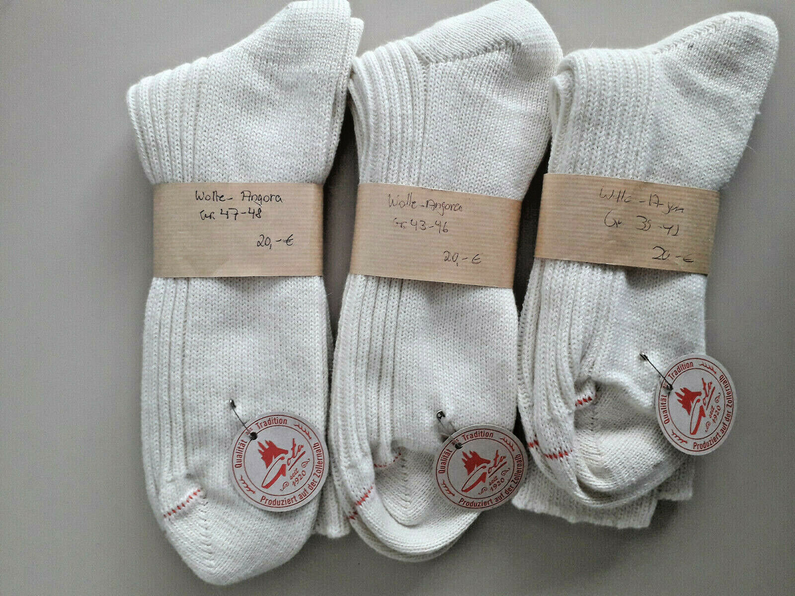 Socken aus Angora - Wolle (Merinowolle) - Baumwolle