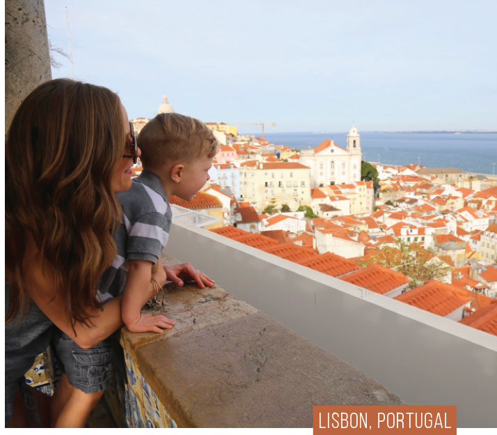 Sarah and her son in Lisbon, Portugal