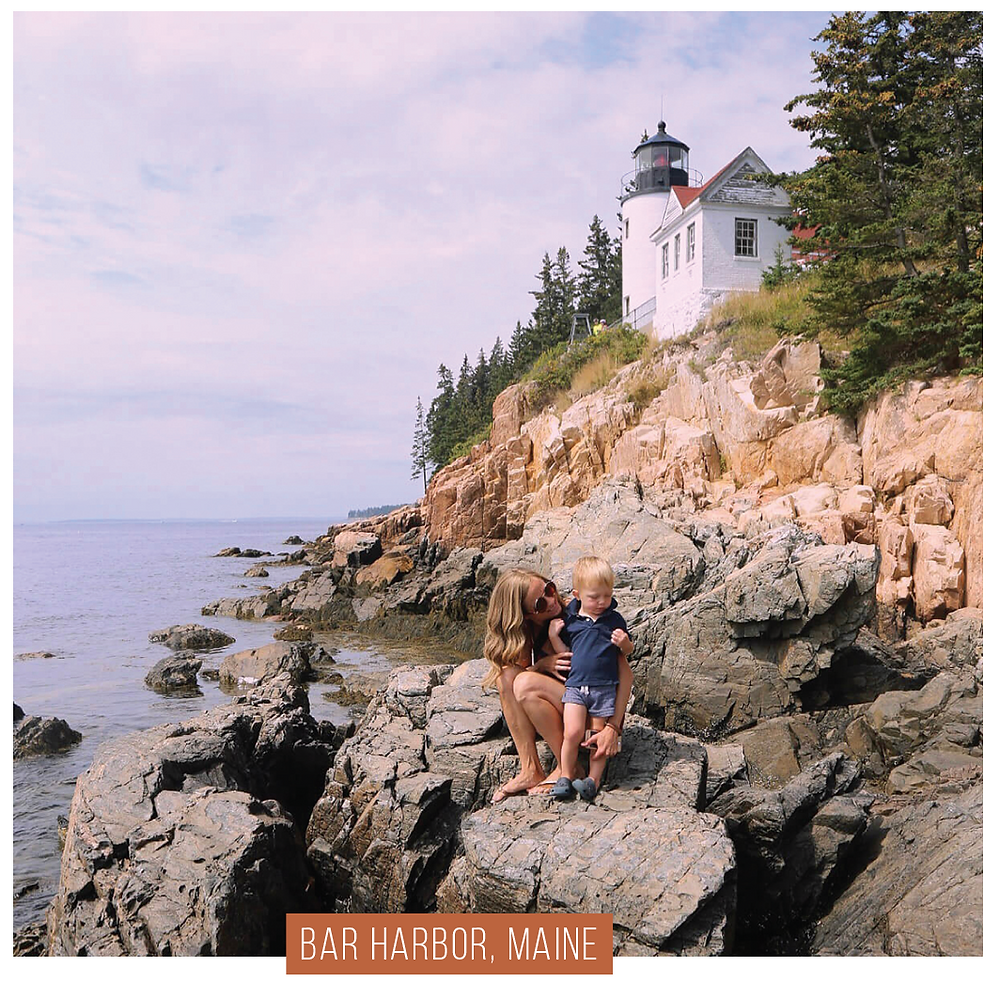 Sarah and her son in Bar Harbor, Maine