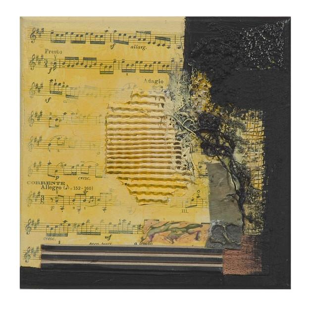 Terre de musique 8 (15x15)cm, Techniques mixtes sur toile