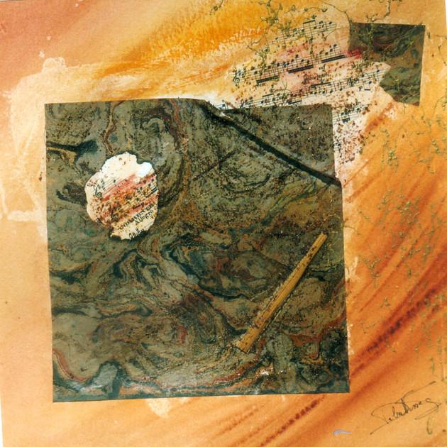 Terre de Sienne 1 (30x30)cm, Techniques mixtes sur papier
