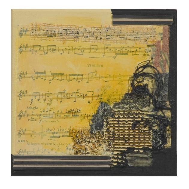Terre de musique 4 (15x15)cm, Techniques mixtes sur toile
