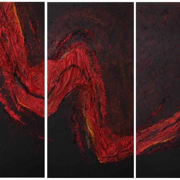 Torrent de feu (3x100x200)cm, Techniques mixtes sur toile