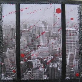 New York 12( 30x30)cm, Techniques mixtes sur toile