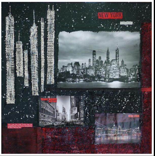 New York 7 (50x50)cm, Techniques mixtes sur toile