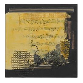 Terre de musique 2 (15x15)cm, Techniques mixtes sur toile