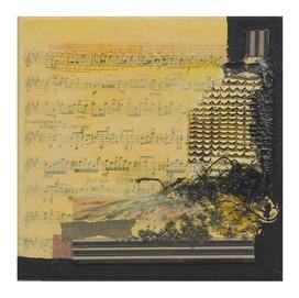 Terre de musique 5 (15x15)cm, Techniques mixtes sur toile