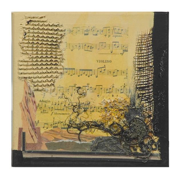 Terre de musique 1 (15x15)cm, Techniques mixtes sur toile