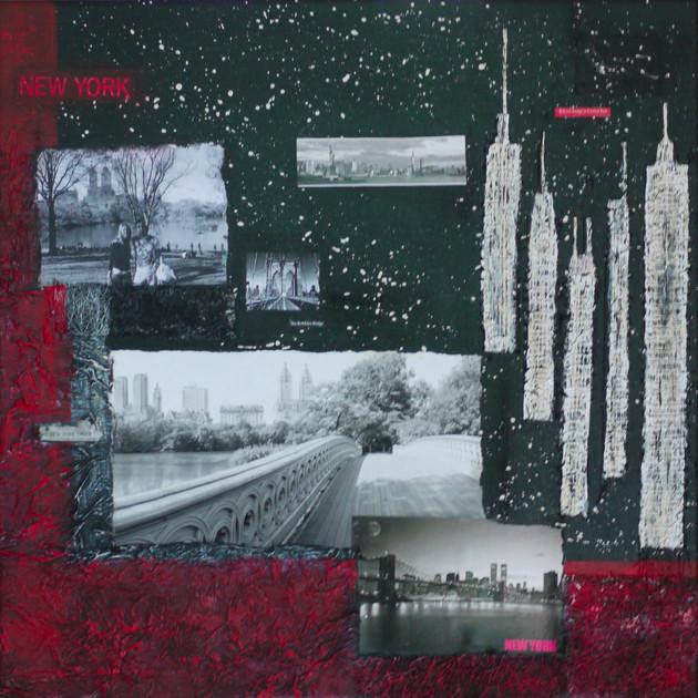 New York 3( 50x50)cm, Techniques mixtes sur toile