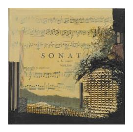 Terre de musique 7 (15x15)cm, Techniques mixtes sur toile