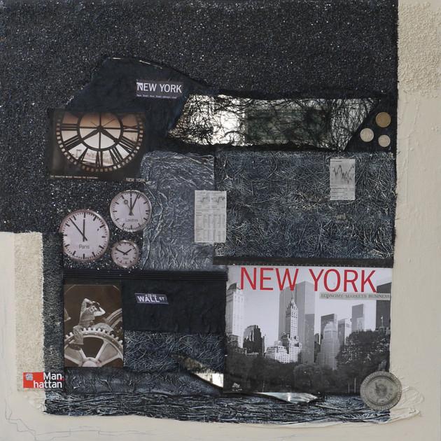 New York 6 ( 70x70)cm, Techniques mixtes sur toile