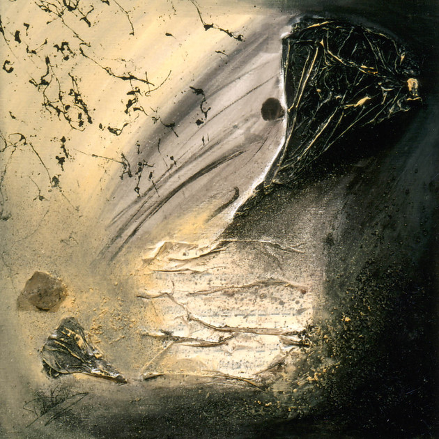 Paysage lunaire 1 (50x50)cm, Techniques mixtes sur toile
