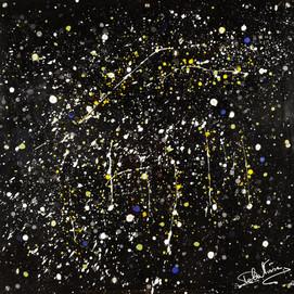 Galaxie 2 (100x100)cm, Techniques mixtes sur plexis noir