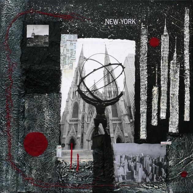 New York 1 (50x50)cm, Techniques mixtes sur toile
