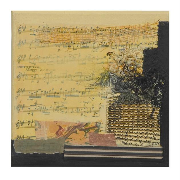 Terre de musique 9 (15x15)cm, Techniques mixtes sur toile