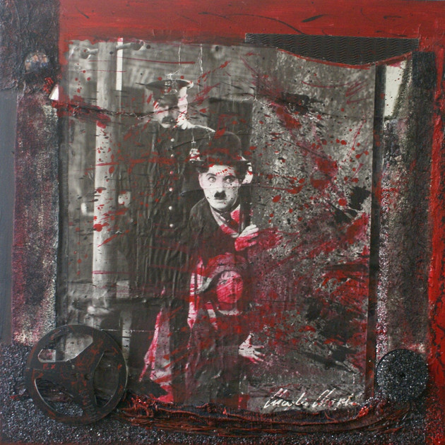 Charlot story (100x100)cm, Techniques mixtes sur toile