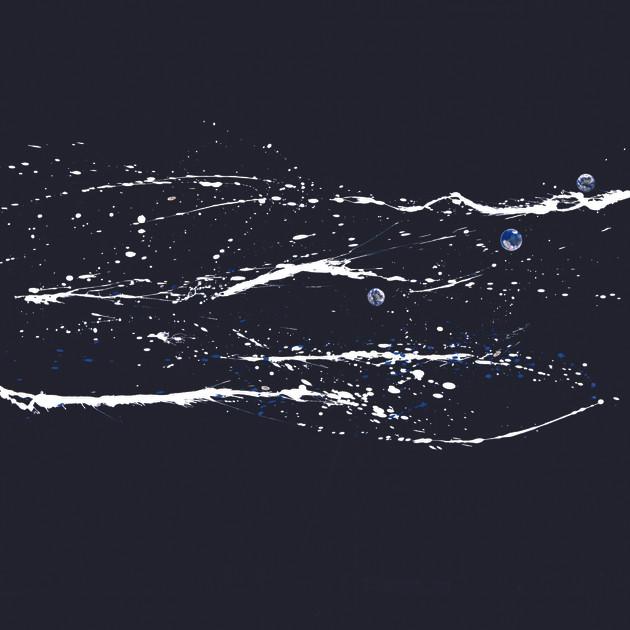 Mer du nord (100x100)cm, Techniques mixtes sur plexis noir