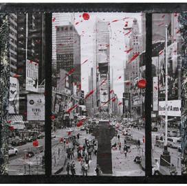 New York 13 ( 30x30)cm, Techniques mixtes sur toile