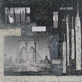 New York 8 ( 50x50)cm, Techniques mixtes sur toile