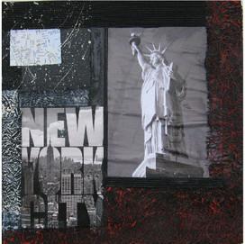 New York 10 ( 30x30)cm, Techniques mixtes sur toile