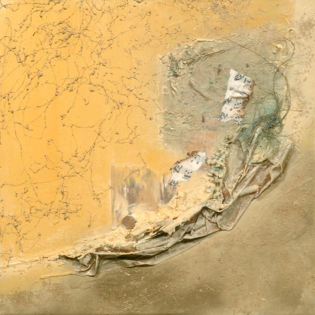 Poussières d'or 1 (40x40)cm, Techniques mixtes sur toile