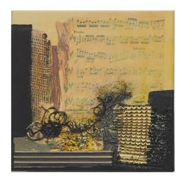 Terre de musique 6 (15x15)cm, Techniques mixtes sur toile
