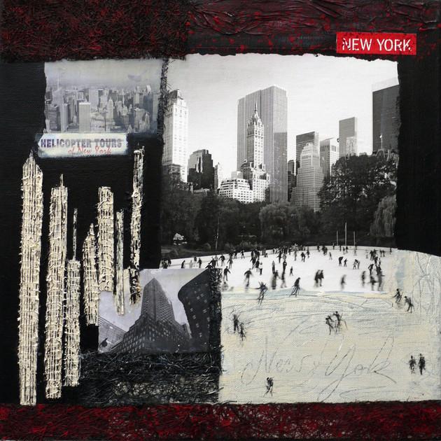 New York 2 (50x50)cm, Techniques mixtes sur toile