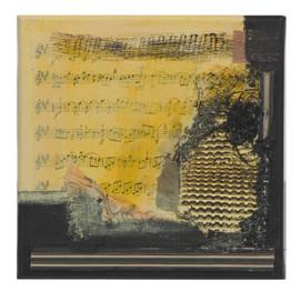 Terre de musique 3 (15x15)cm, Techniques mixtes sur toile