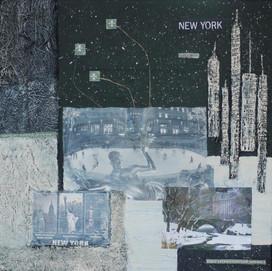 New York 4 ( 50x50)cm, Techniques mixtes sur toile