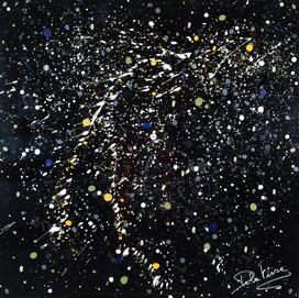 Galaxie 1 (100x100)cm, Techniques mixtes sur plexis noir