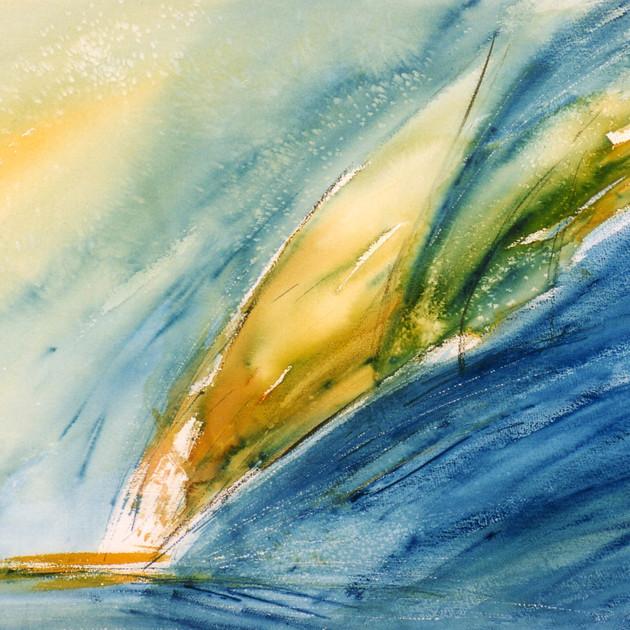 Sous l'aile du vent 1 (50x70)cm, Aquarelle