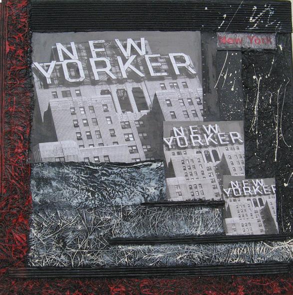 New York 9( 30x30)cm, Techniques mixtes sur toile