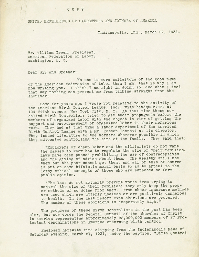 Letter reflecting a debate within the American Federation of Labor on the question of birth control. March 27, 1931.