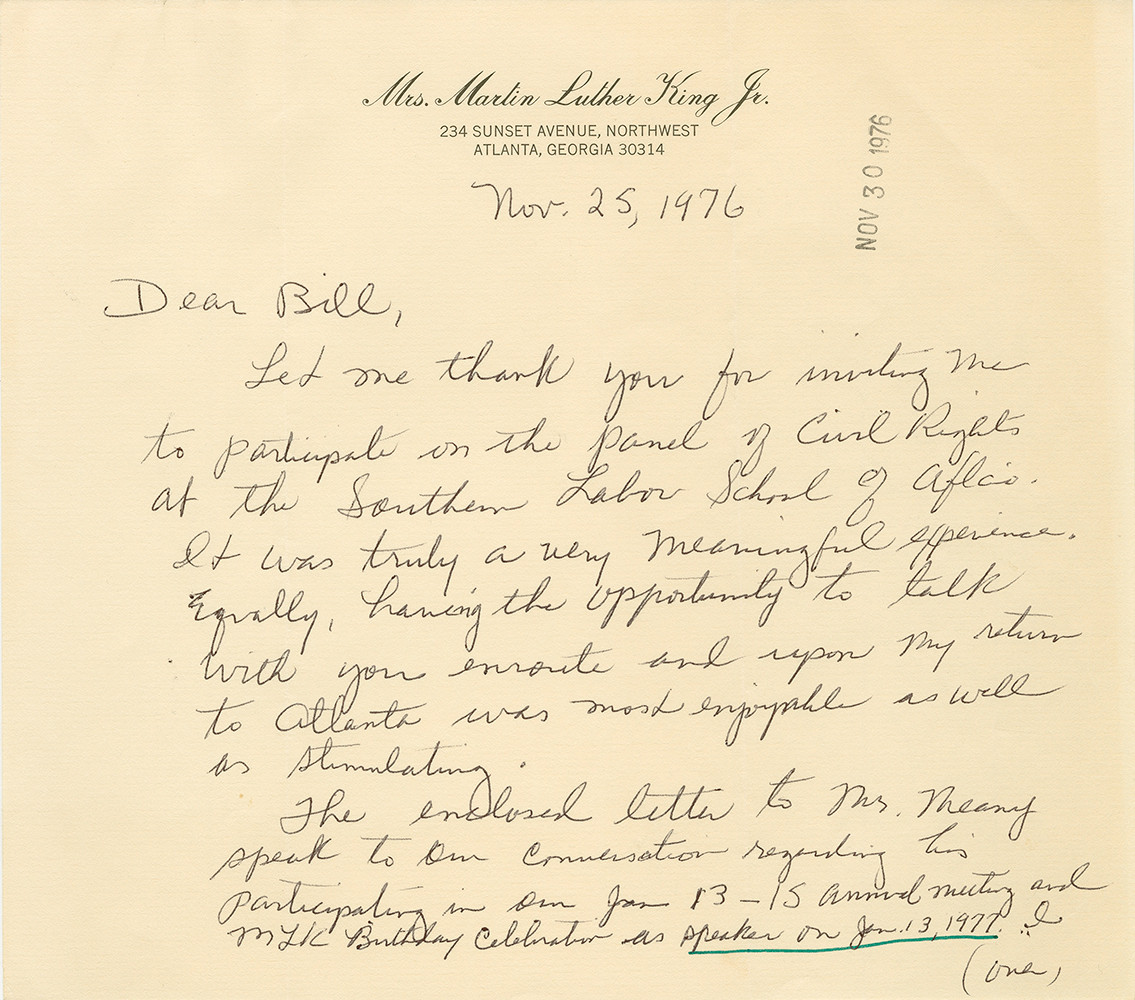 Letter from Coretta Scott King, President of the Martin Luther King, Jr. Center for Social Change to Bill Pollard, Director of the AFL-CIO Civil Rights Department. November 25, 1976. AFL-CIO Civil Rights Department Records.