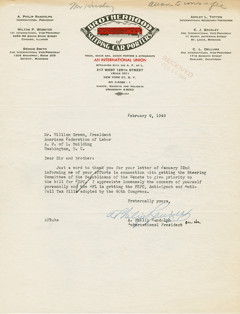Letter from A. Philip Randolph, President of the Brotherhood of Sleeping Car Porters, to William Green, American Federation of Labor President, thanking him for supporting anti-lynching and anti-poll tax legislation. February 9, 1948. AFL-CIO Department of Legislation Records.