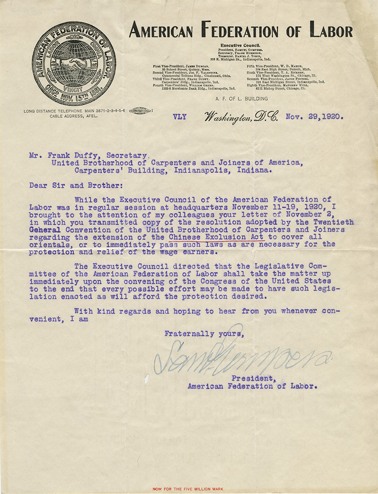 """Letter in favor of expanding the Chinese Exclusion Act to include """"all orientals."""" Samuel Gompers, President, American Federation of Labor, to Frank Duffy, General Secretary, United Brotherhood of Carpenters and Joiners of America. November 29, 1920. United Brotherhood of Carpenters and Joiners of America Records."""