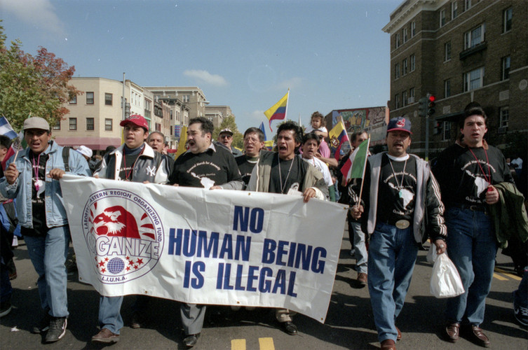 Laborers International Union of North America (LIUNA) members from the eastern US region march for immigrants' rights (Washington, D.C., 1999) / Source: University of Maryland Archives